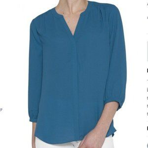 Georgette Henley With Pleated Back - Teal XS NWOT